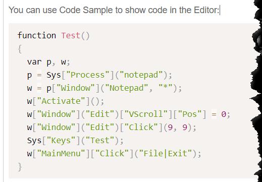 Code sample in editor