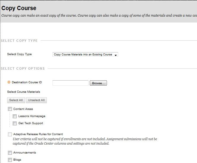 Browse destination course